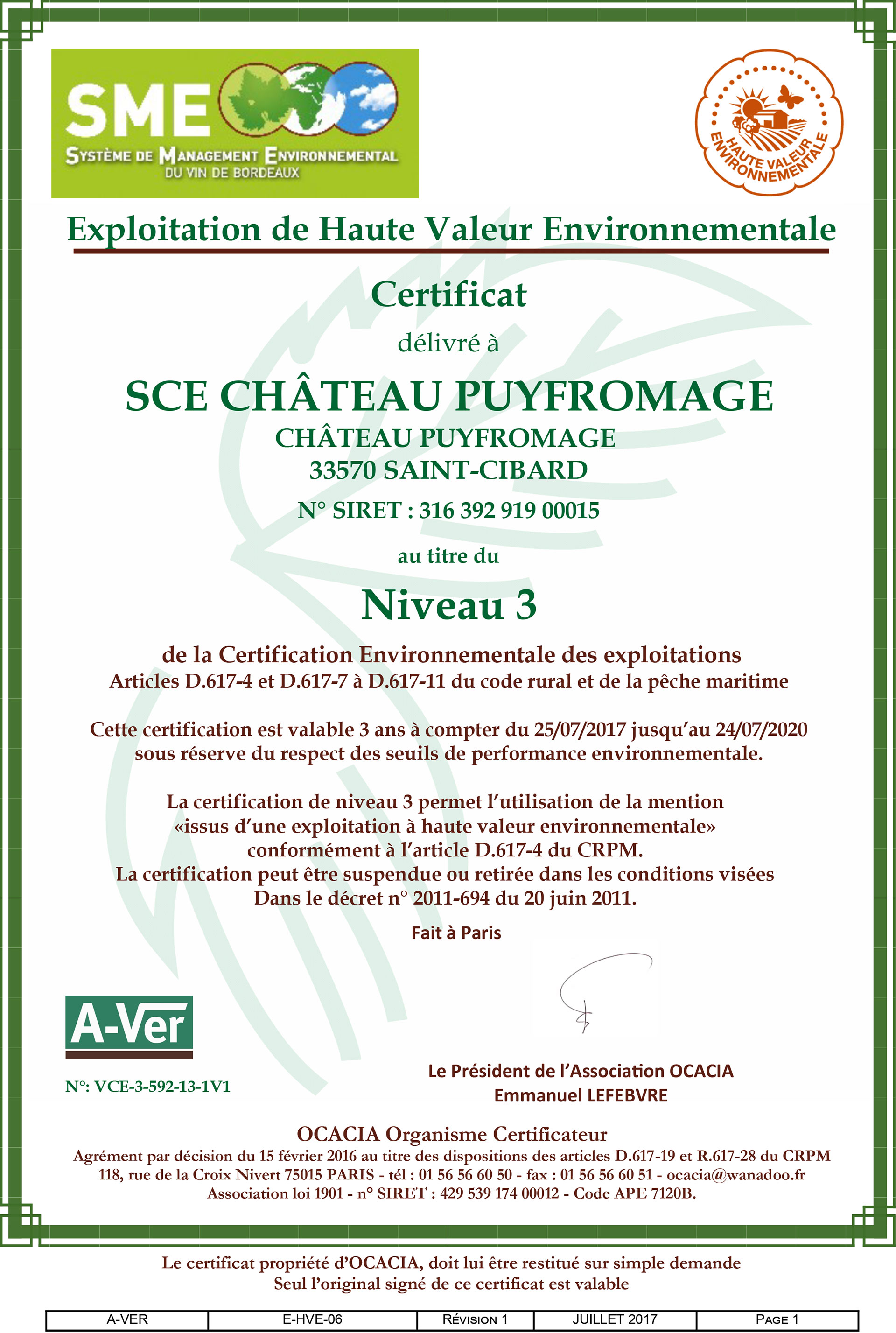 Environmental certifications iso 14001 and hve3 wine bordeaux puyfromage certification haute valeur environnementale hve niveau 3 1betcityfo Choice Image