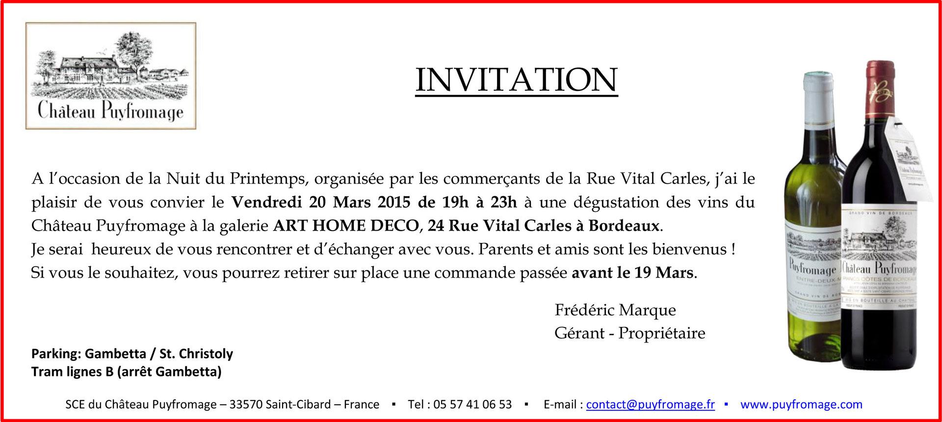 Invitation à la nuit du printemps : dégustation 20 mars 2015