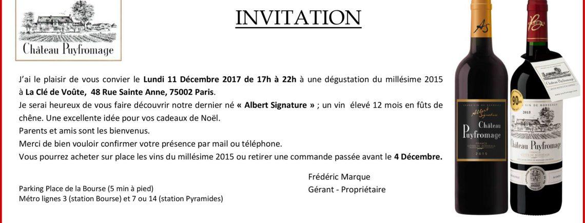 Dégustation Paris le 11 décembre - Château Puyfromage