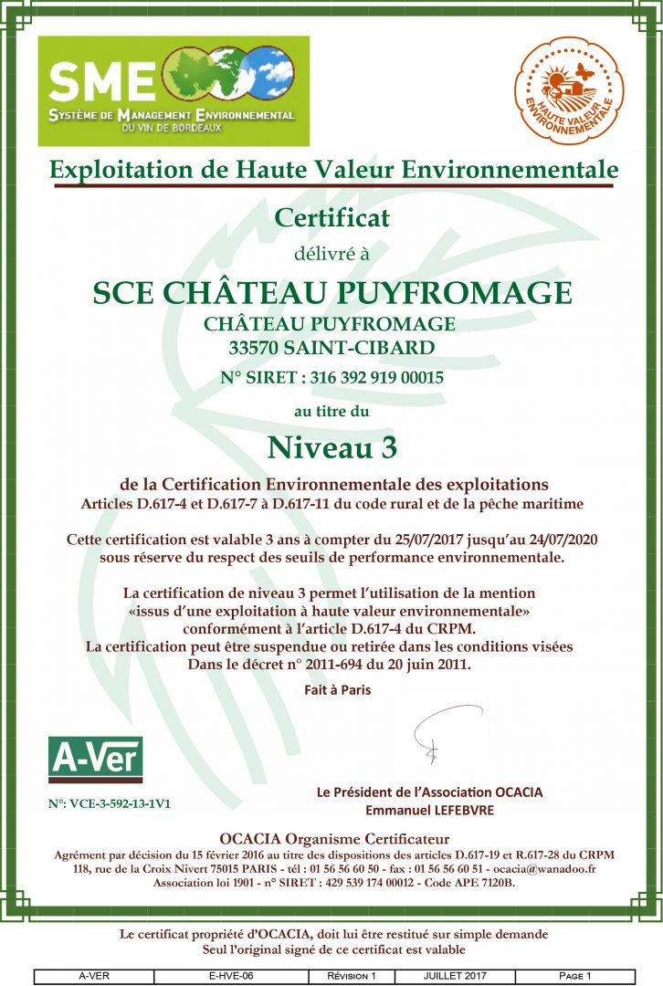 Puyfromage : Certification Haute Valeur Environnementale (HVE) Niveau 3